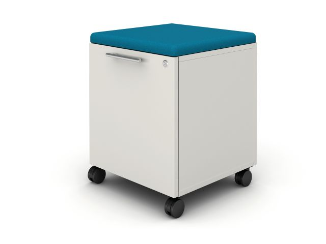 Calibrate Hidden Drawer Pedestal with Cushion on wheels with bar pull, shown in True White