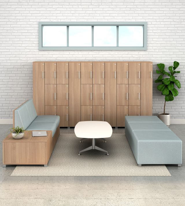 Calibrate Storage Lockers with LB Lounge and Day-to-Day Occasional Table, vertical view