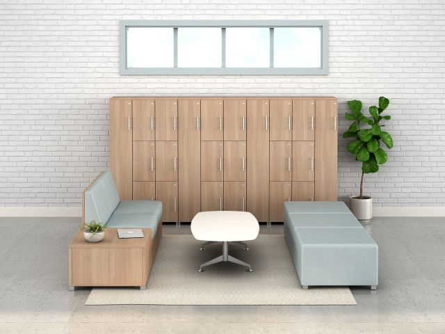 Calibrate Storage Lockers with LB Lounge and Day-to-Day Occasional Table, horizontal view