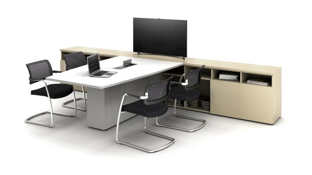 Calibrate Conference Table with storage and Devens Side Chairs