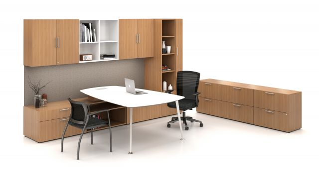 Calibrate Series Casegoods Private Office with Overhead Storage