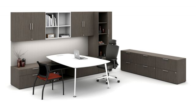 Absolute Acajou on Calibrate Series Casegoods Private Office with Pebble Top Desk, Natick Executive Seating, Grafton Side Seating