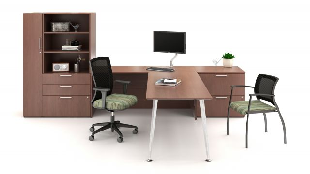Calibrate Series Casegoods Private Office with Natick and Grafton Seating
