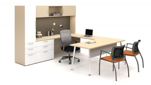 Calibrate Series Casegoods Tapered Leg Private Office with Natick and Grafton Seating