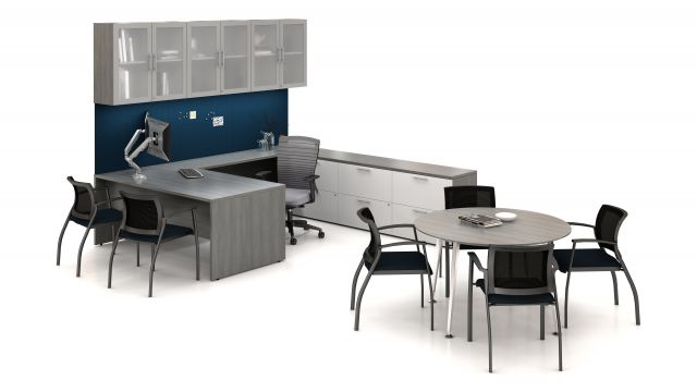 Calibrate Series Casegoods U-Shape Private Office with Natick and Grafton Seating