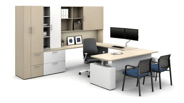 Maritime Dune on Calibrate Series Casegoods Private Office with Height Adjustable Desk, Auburn Executive Seating, Paxton Side Seating