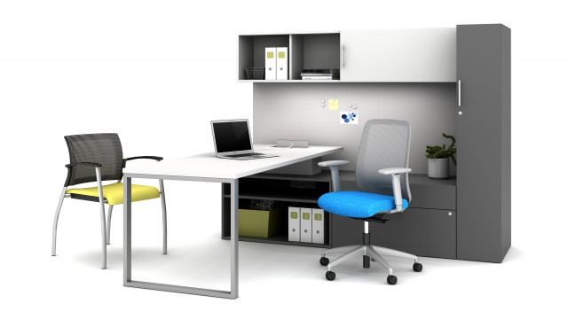 Calibrate Casegood Private Office with O-Leg Return Worksurface, Calibrate Storage including wardrobe, lateral file, bookcase and overhead