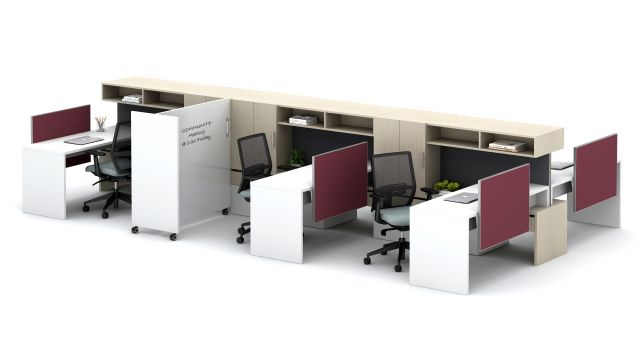 Calibrate Community with Cantilevered Overheads, Stack Desks and Tri-wheel Whiteboard Floorplate Area 10
