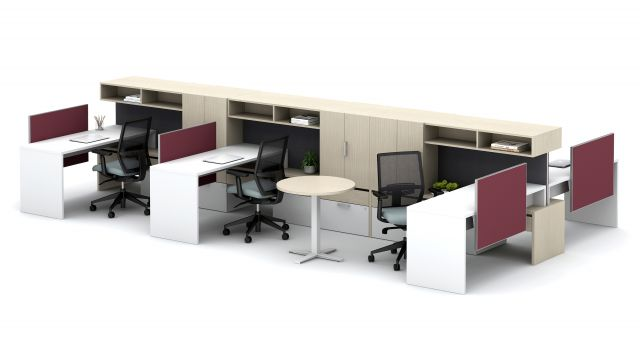 Calibrate Community with Cantilevered Overheads, Stack Desks and Day-to-Day Round Table