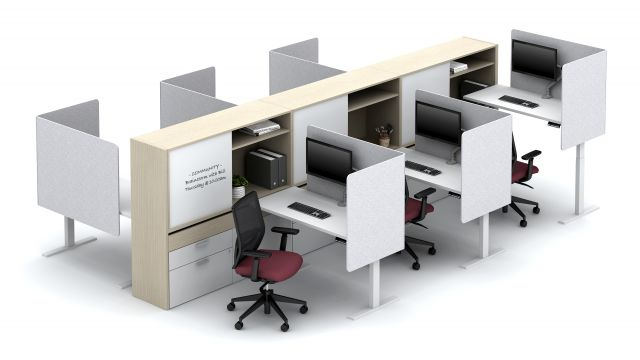 Calibrate Community with Height Adjustable Tables, L-shaped PET Screens Floorplate Area 12