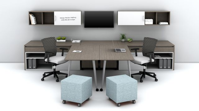 Community Shared Office with sliding worksurfaces together Floorplate Area 4