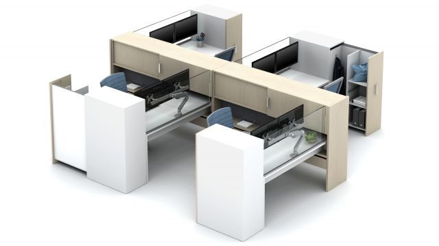 Calibrate Community with stack desks, Glass Screens and Calibrate Pantry Storage Floorplate Area 7
