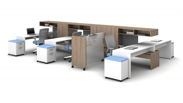 Calibrate Community with Cantilevered Overheads, Tri Wheeled Markerboard, and mobile pedestals