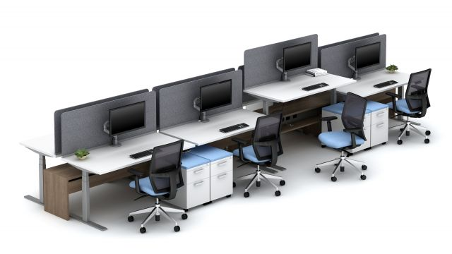 "Calibrate Community 21"" high Spine with Height Adjustable Tables, Channel PET Screens and Devens Seating"