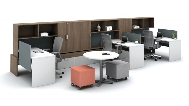 Calibrate Community with Overhead storage, cabinet storage, tackboards and stackdesks with slimline screens