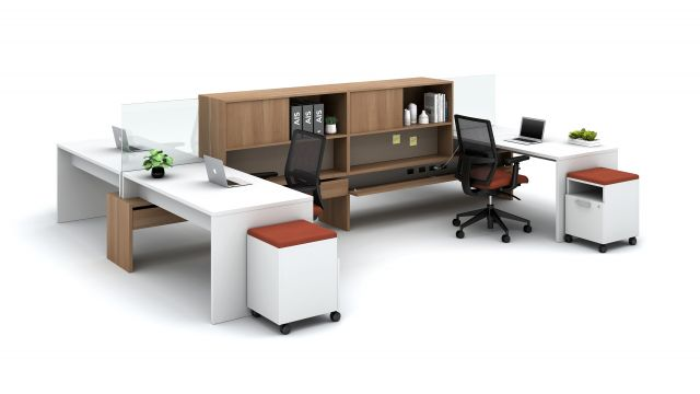 Calibrate Community with Stack desks, Glass Screens, and open bookcases with tackboard below