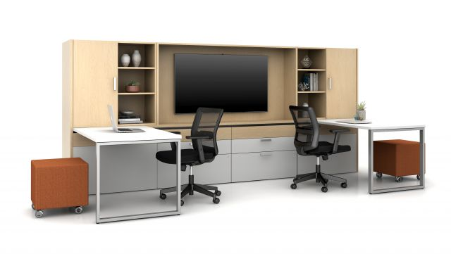 Calibrate Community with O Leg Supported Sliding Tables, separate workspaces