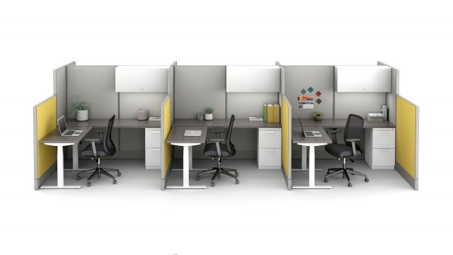 Divi Linear with Height Adjustable Tables and L Series Storage