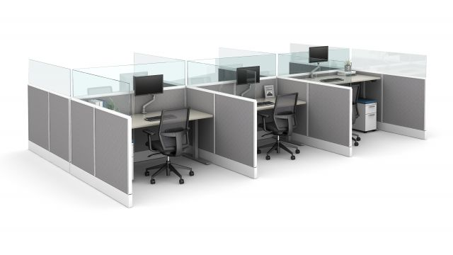 "Divi Linear with 16"" Channel supported panel mount glass and Height Adjustable Tables"