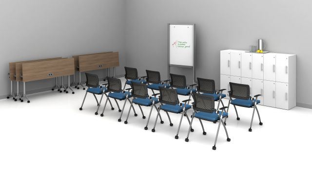 """Day-to-Day 18"""" Flip-Top Tables and Stow seating training room 4"""
