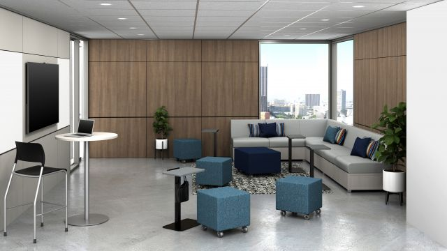 Huddle Room with LB Lounge and Ottoman, Day-to-Day Disc Base High Top Table, Laptop Tables and Volker Cubes