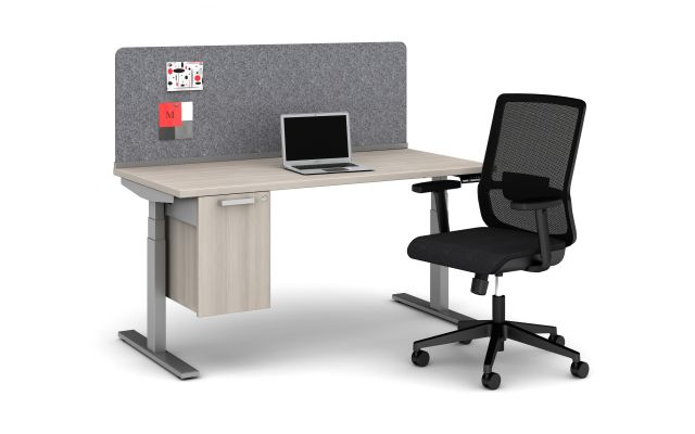 Day-to-Day 60 x 30 Height Adjustable Table with PET Channel Screen, Calibrate Suspended Storage and Essex Seating