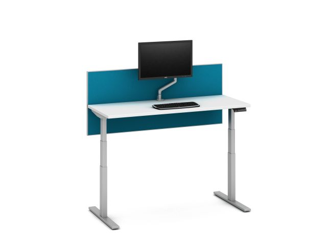 Day-to-Day Height Adjustable Table with Side Mount Screen and attached Monitor Arm