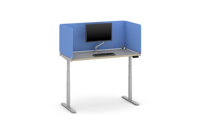 """Day-to-Day Height Adjustable Table with Clip Supported 20"""" PET Screens in Vibrant Blue"""