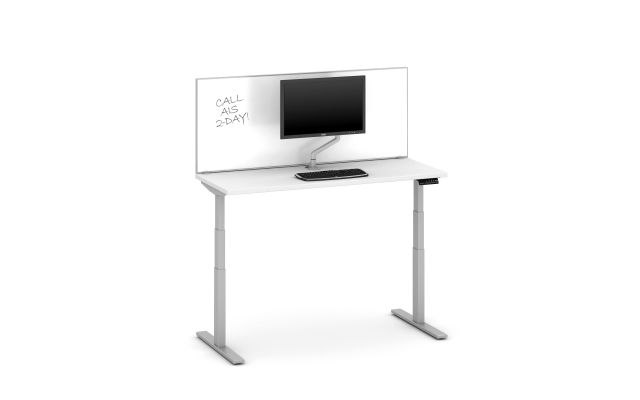 "Day-to-Day Height Adjustable Table with Slimline, surface-mount 24"" Whiteboard  territory screen"