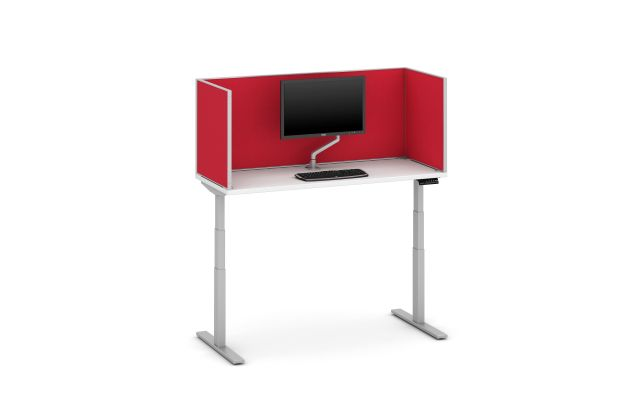 """Day-to-Day Height Adjustable Table with Slimline, surface-mount 24"""" Fabric Screen"""