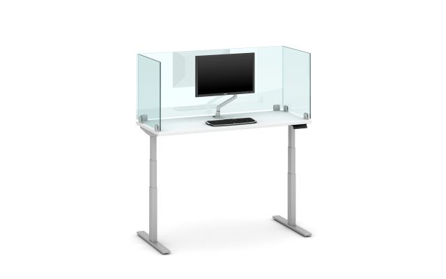 "Day-to-Day Height Adjustable Table with 24"" Glass Clip Supported Screen, Surface Mounted"