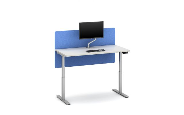 Day-to-Day Height Adjustable Table with Partial Modesty Slimline Screen and attached Monitor Arm