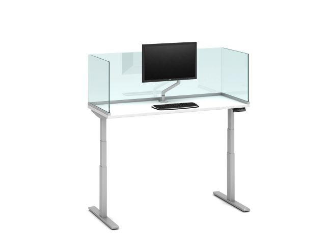 "Day-to-Day Height Adjustable Table with Channel Supported, surface-mount 20"" Glass Screens and attached Monitor Arm"