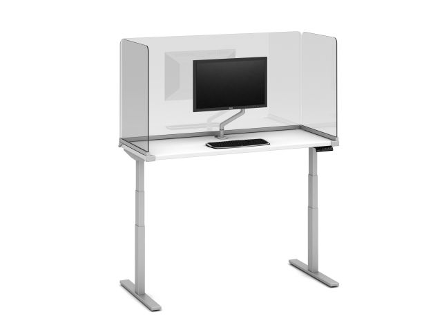 "Day-to-Day Height Adjustable Table with 32"" H Lexan Channel Supported Screen, undersurface-mount, and attached Monitor Arm"