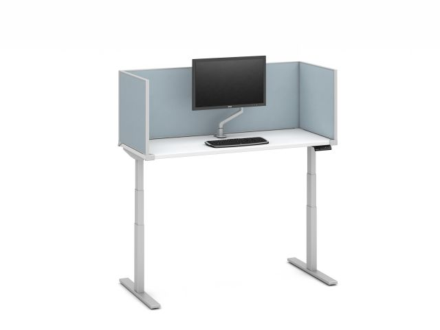 "Day-to-Day Height Adjustable Table with Slimline, undersurface-mount 20"" H Vinyl Screens and attached Monitor Arm"