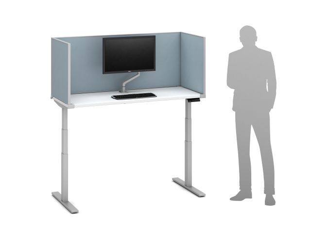 "Day-to-Day Height Adjustable Table with Slimline undersurface-mount 24"" H Vinyl Screens and attached Monitor Arm"