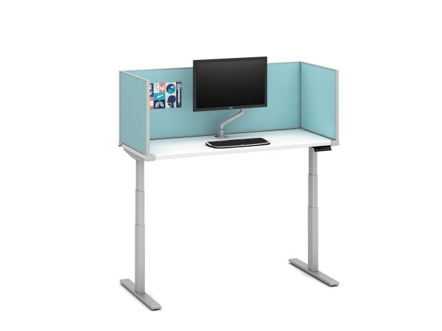 "Day-to-Day Height Adjustable Table with Slimline, undersurface-mount 20"" H Antimicrobial Fabric Screens and attached Monitor Arm"