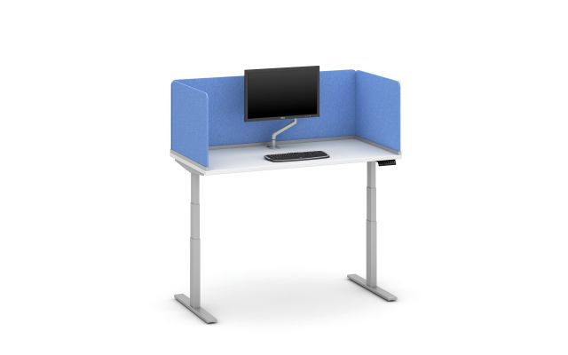 """Day-to-Day Height Adjustable Table with Channel Supported Screen, surface-mount 20"""" H PET (in Vibrant Blue) Screens and attached Monitor Arm"""