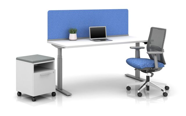 "Day-to-Day Height Adjustable Table with 20"" PET Surface Mounted Channel Screen in Vibrant Blue and Devens Seating"