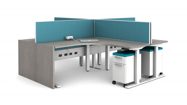 "Day-to-Day 21"" PowerBeam in White with End Panel support and Height Adjustable Tables"