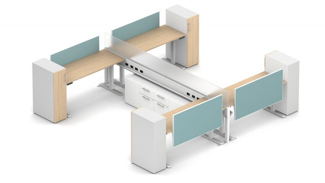 Day-to-Day PowerBeam Calibrate Storage Supported, Four Stations with Perpendicular Worksurfaces