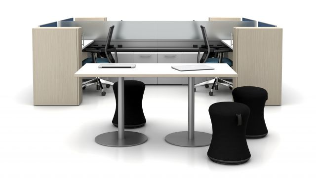 Day-to-Day Double Disc Base Rectangular Table with Sulli Seating, Shown with PowerBeam Benching and Devens Seating