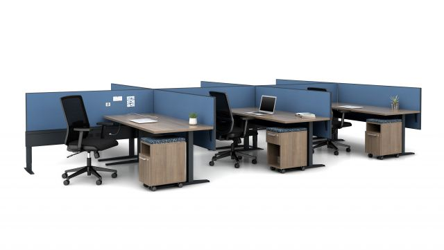 Day-to-Day PowerBeam with Fixed Height C-Leg Table and Partial Modesty Slimline Screens, shown with Calibrate Cubby Pedestals and Essex Task Seating