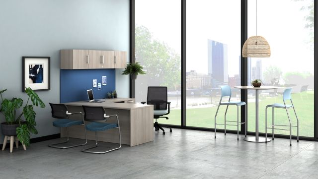 Calibrate Private Office with Day-to-Day high top table with disc base, shown with Devens Task and Side seating and Pierce Stools