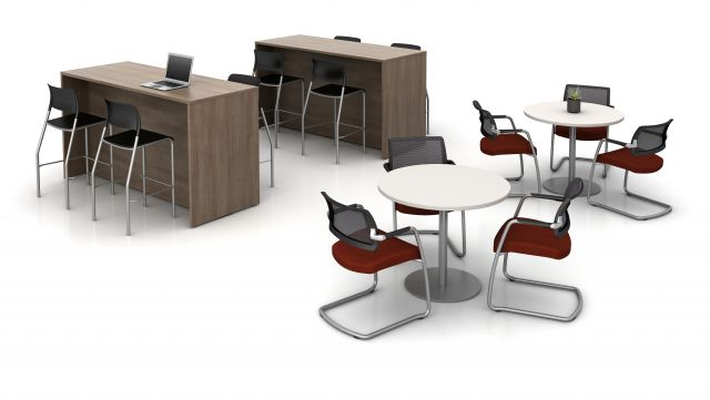 Day-to-Day Disc Base Tables with Devens Side Seating, Calibrate End-Panel Tables with Pierce Stools