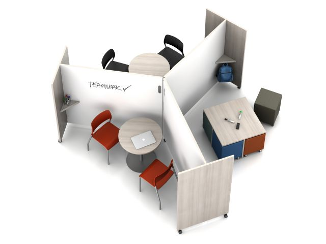 Pinwheel Application using Tri-Wheel Laminate Mobile Whiteboard/Divider with Volker, Day-to-Day Disc Base Tables and Pierce