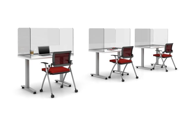 Day-to-Day C-Leg Tables on Casters with Lexan Surface Mounted Channel Screens