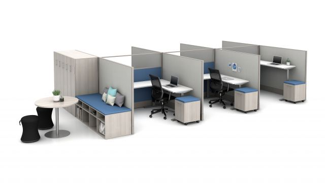 """Divi 72"""" fabric and glass panels with 3-leg Height Adjustable Tables, Calibrate Storage and lockers, Disc Base Occastional Table; Sulli and Essex Seating"""