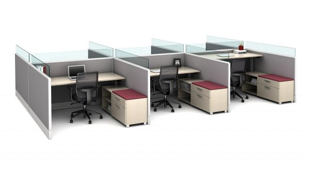 """Divi 72"""" fabric and glass upmount channel screens with Height Adjustable Tables, Calibrate Storage and Devens Seating"""