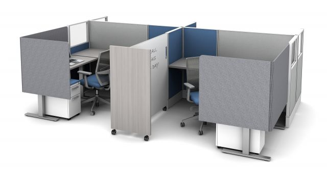 Divi Workstation with Extended PET L Wrap Partial Modesty Screens and Tri-wheel mobile whiteboard for division